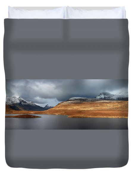 Duvet Cover featuring the photograph Mountain Pano From Knockan Crag by Grant Glendinning
