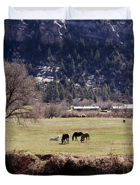 Duvet Cover featuring the photograph Mountain Pasture Vertical by Lorraine Devon Wilke