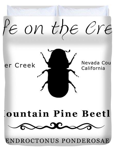 Mountain Pine Beetle Black On White Duvet Cover