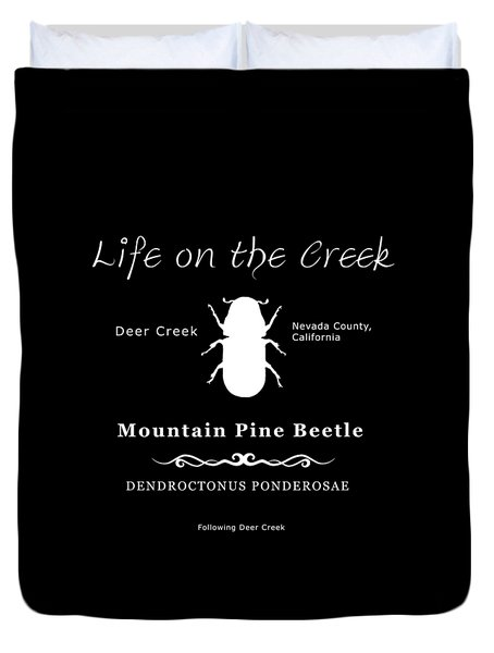 Mountain Pine Beetle White On Black Duvet Cover