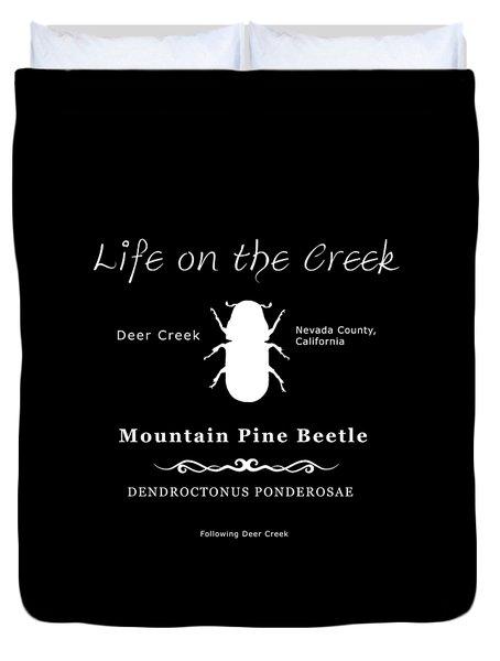 Mountain Pine Beetle White On Black Duvet Cover