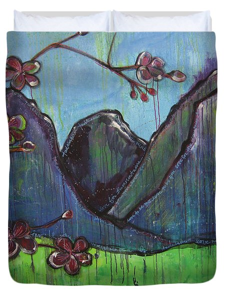 Mountain Pose Duvet Cover by Laurie Maves ART