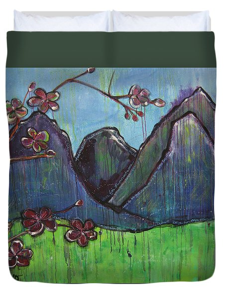 Copper Mountain Pose Duvet Cover