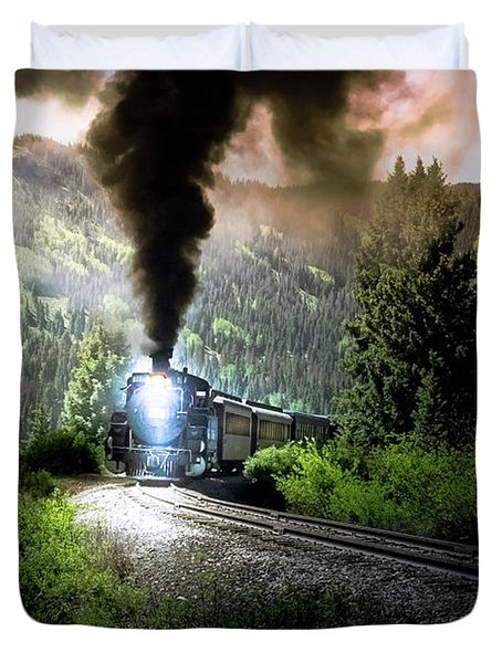 Duvet Cover featuring the photograph Mountain Railway - Morning Whistle by Robert Frederick