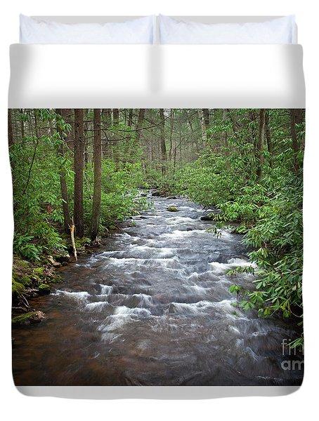 Mountain Stream Laurel Duvet Cover by John Stephens
