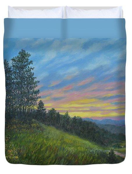 Duvet Cover featuring the painting Mountain Sundown by Kathleen McDermott