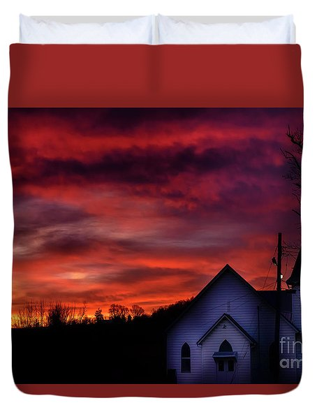 Duvet Cover featuring the photograph Mountain Sunrise And Church by Thomas R Fletcher