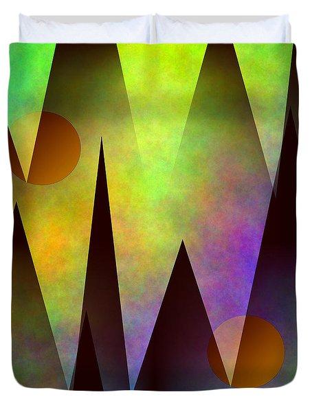 Duvet Cover featuring the digital art Mountain Sunset Abstract by Kathleen Sartoris