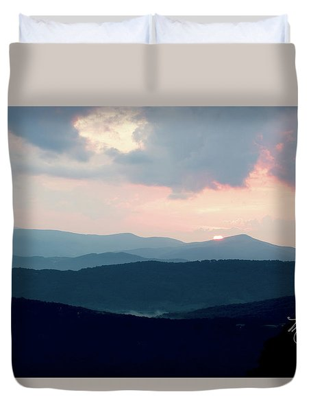 Duvet Cover featuring the photograph Blue Ridge Mountain Sunset by Meta Gatschenberger