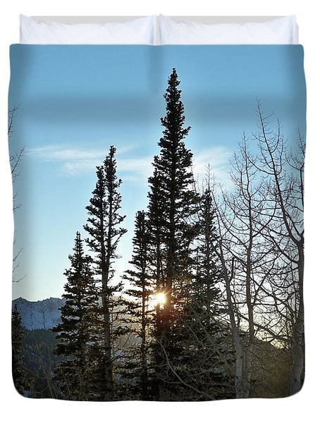 Mountain Sunset Duvet Cover by Michael Cuozzo