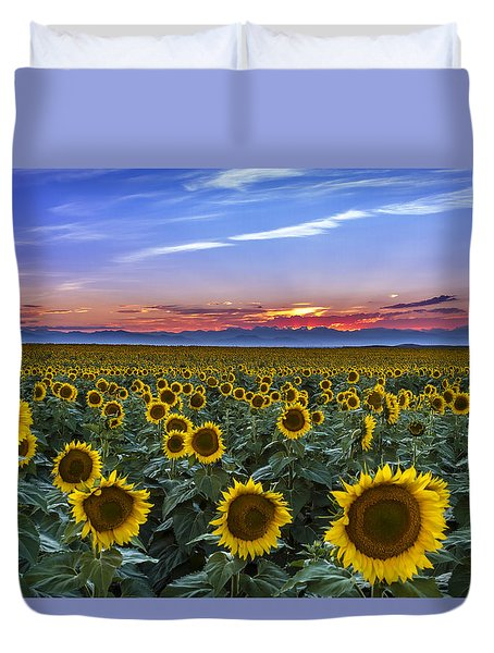 Mountain Sunset Over Sunflower Fields Duvet Cover