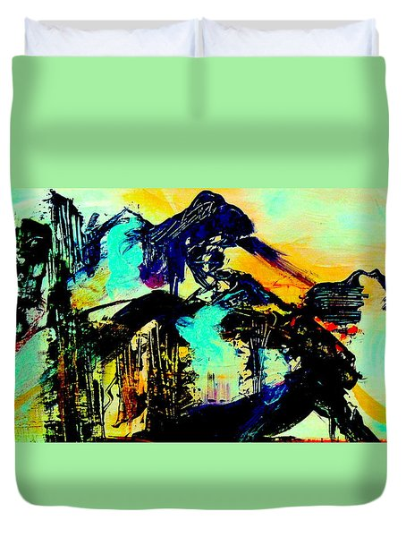 Mountain Top Spot Duvet Cover by Mary Schiros