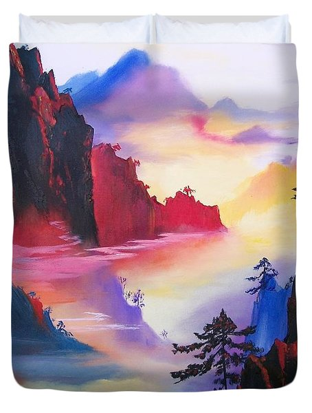 Mountain Top Sunrise Duvet Cover