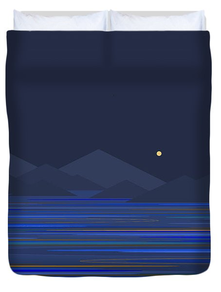 Duvet Cover featuring the digital art Mountain Tops II by Val Arie