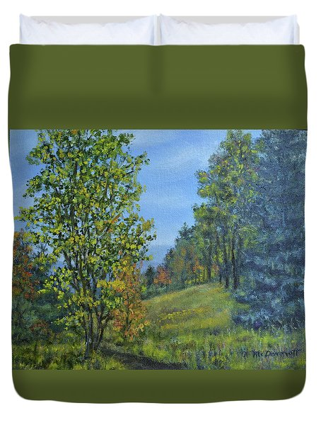 Duvet Cover featuring the painting Mountain Trail by Kathleen McDermott