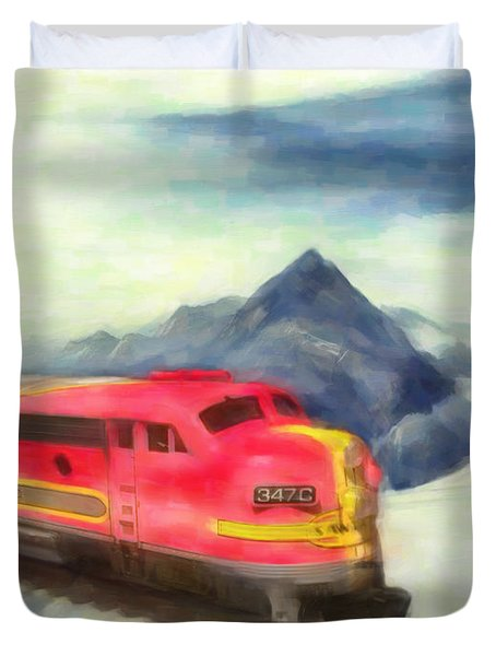 Duvet Cover featuring the painting Mountain Train by Michael Cleere