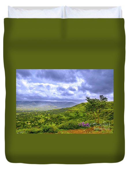 Duvet Cover featuring the photograph Mountain View by Charuhas Images