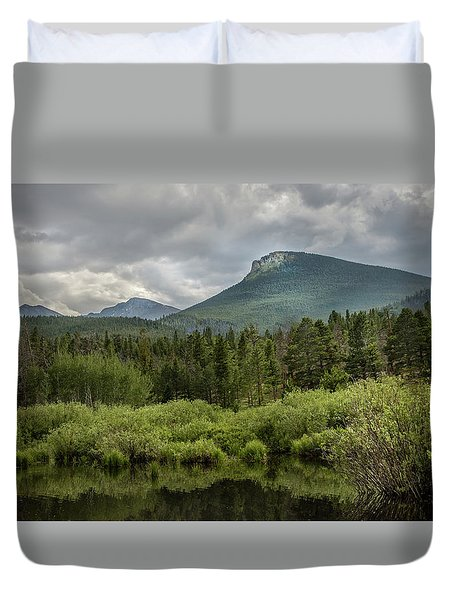 Mountain View From The Marsh Duvet Cover