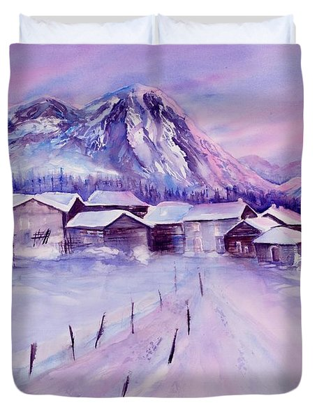 Mountain Village In Snow Duvet Cover