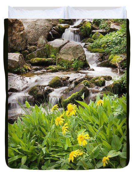 Mountain Waterfall And Wildflowers Duvet Cover
