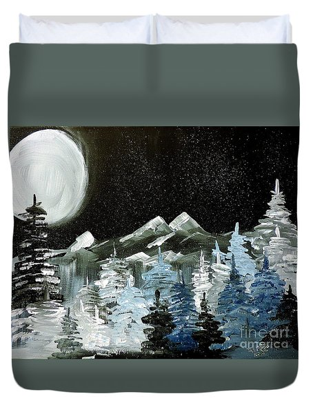 Duvet Cover featuring the painting Mountain Winter Night by Tom Riggs