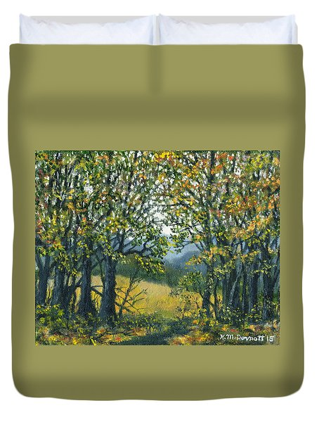 Duvet Cover featuring the painting Mountain Woods by Kathleen McDermott