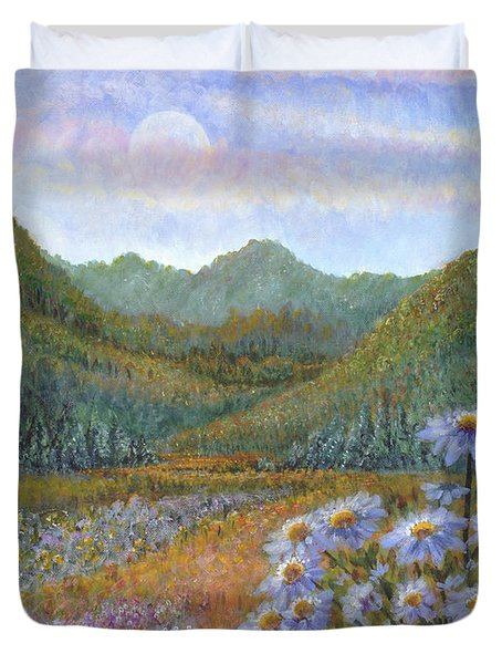 Mountains And Asters Duvet Cover