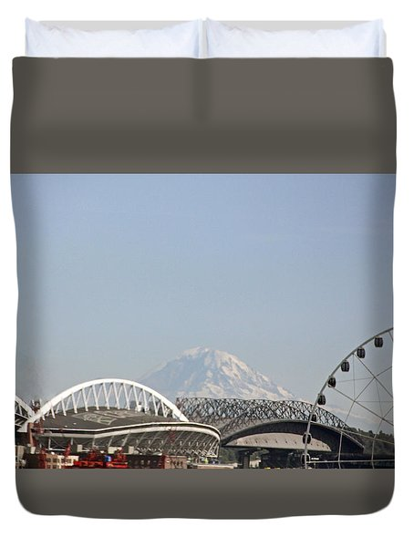 Mountains And City Duvet Cover