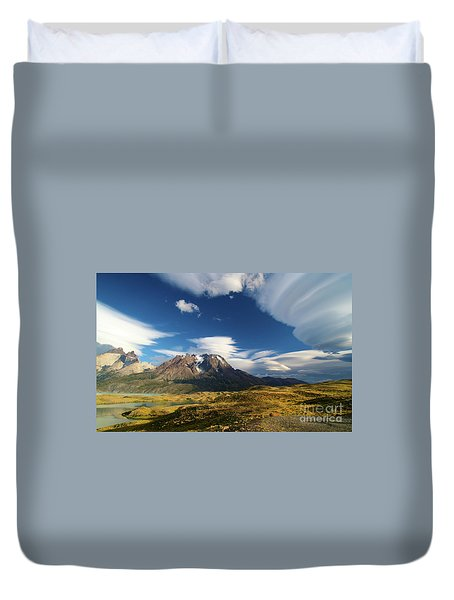 Mountains And Clouds In Patagonia Duvet Cover