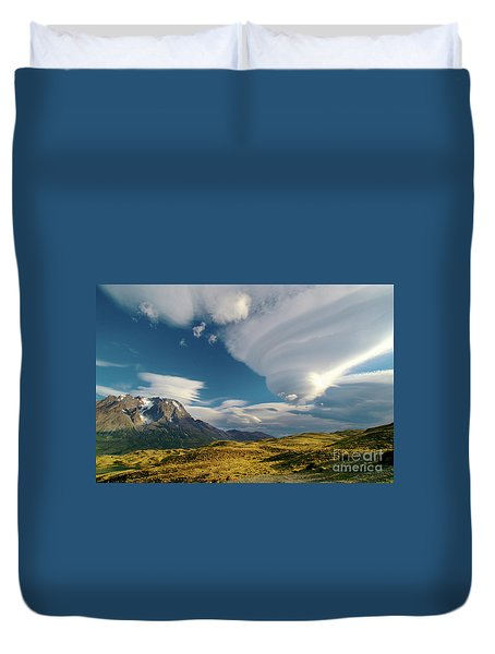 Mountains And Lenticular Cloud In Patagonia Duvet Cover