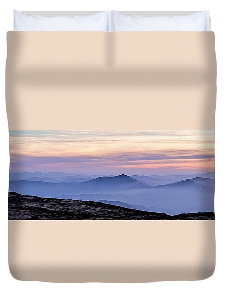 Mountains And Mist Duvet Cover by Marion McCristall