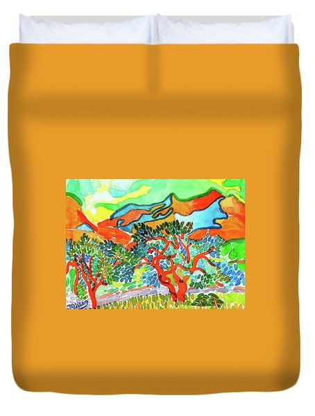 Mountains At Collioure Duvet Cover