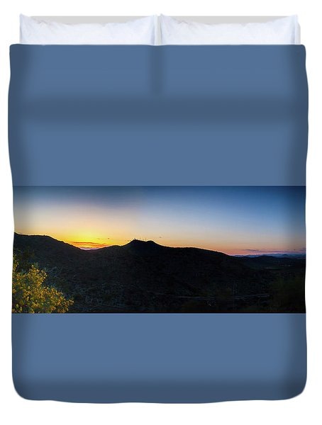 Mountains At Sunset Duvet Cover by Ed Cilley