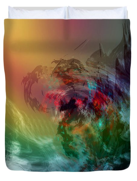 Mountains Crumble To The Sea Duvet Cover by Linda Sannuti