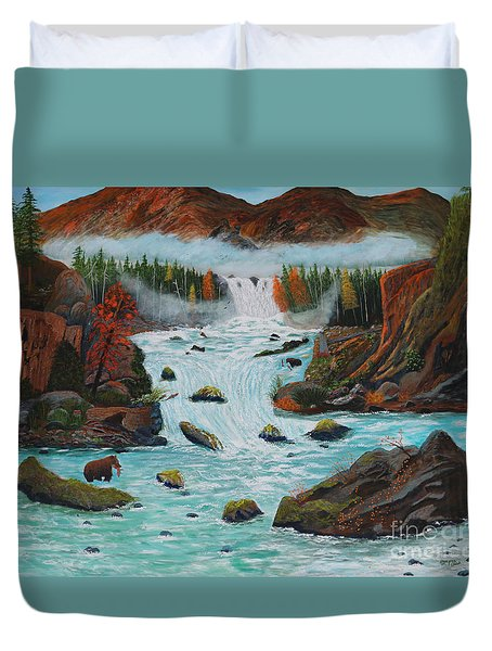 Duvet Cover featuring the painting Mountains High by Myrna Walsh