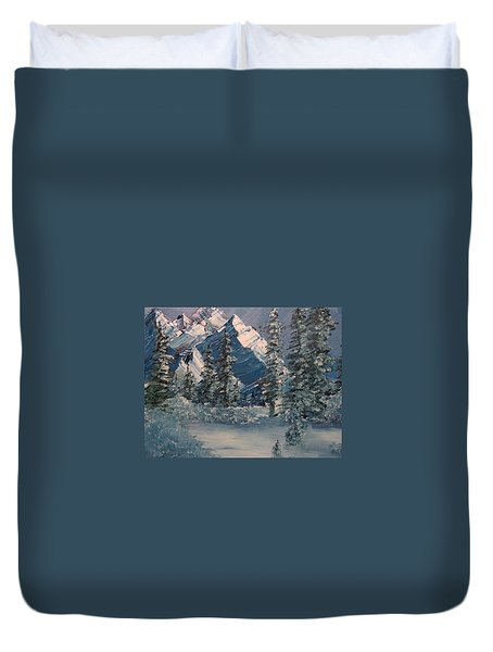 Mountains In Winter Duvet Cover