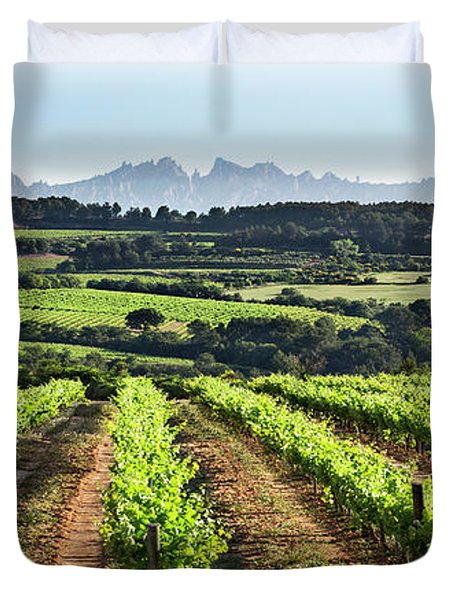 Duvet Cover featuring the mixed media Mountains Of Montserrat Catalunya by Gina Dsgn
