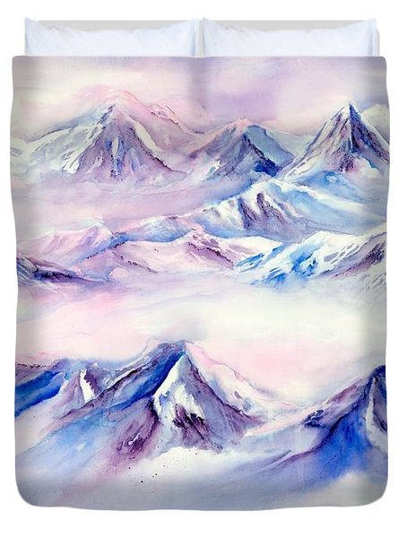 Flying Over Snowy Mountains Duvet Cover