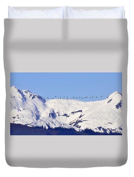 Mountaintop Geese Duvet Cover