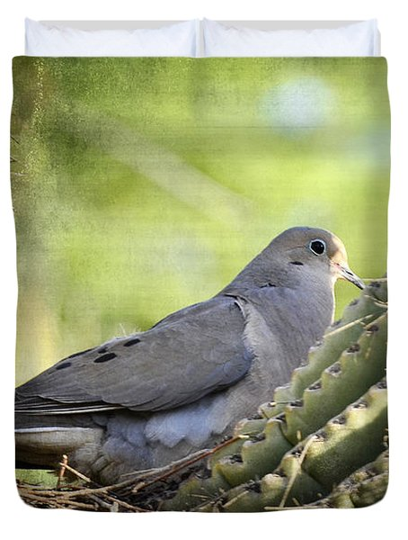 Mourning Dove In The Morning  Duvet Cover by Saija  Lehtonen