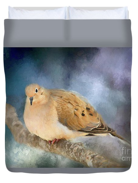 Duvet Cover featuring the photograph Mourning Dove Of Winter by Darren Fisher