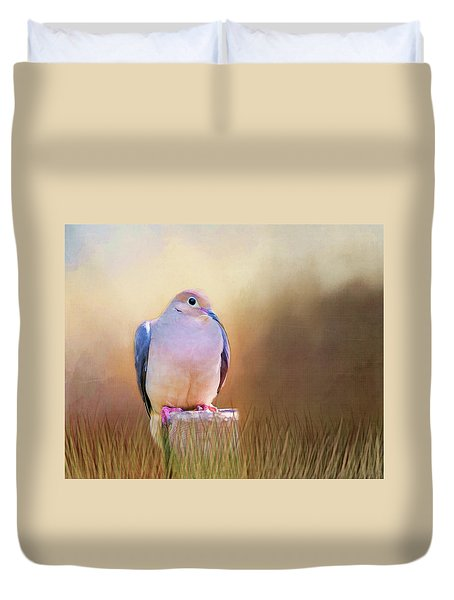 Mourning Dove Painted Portrait Duvet Cover