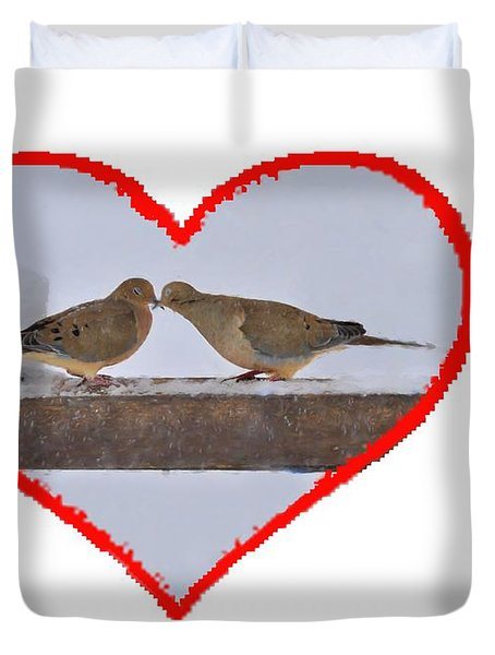 Mourning Doves Kissing Duvet Cover