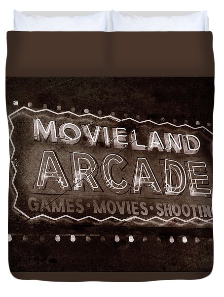 Duvet Cover featuring the photograph Movieland Arcade - Gritty by Stephen Stookey