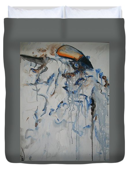 Duvet Cover featuring the painting Moving Forward by Raymond Doward