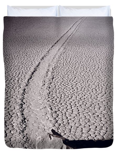 Moving Rocks Number 2  Death Valley Bw Duvet Cover by Steve Gadomski