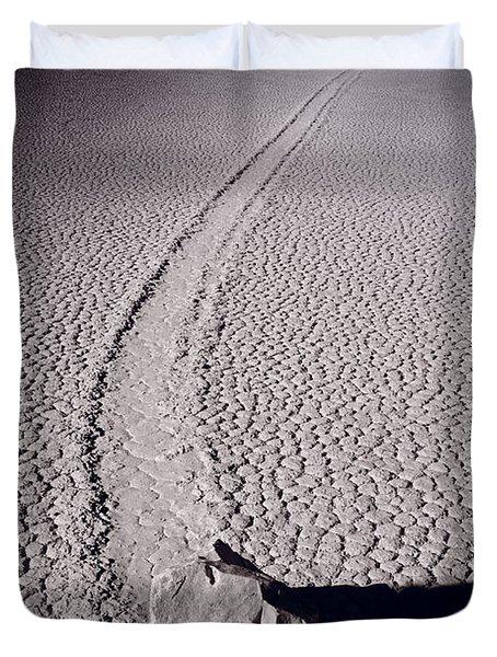 Moving Rocks Number 2  Death Valley Bw Duvet Cover by Steve Gadomski