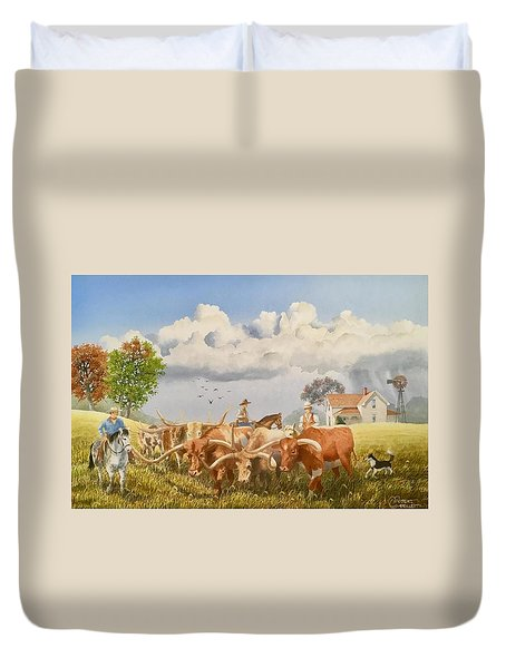 Moving The Herd Duvet Cover