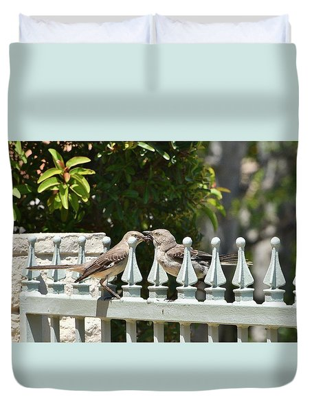 Mr And Mrs Mockingbird With Worms Duvet Cover
