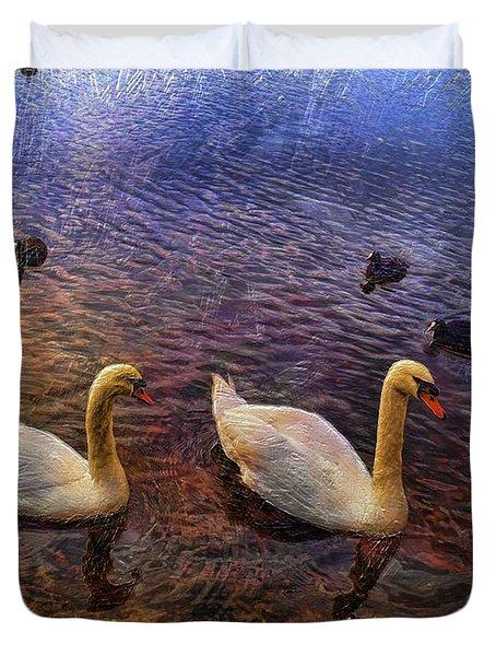 Mr And Mrs Swan Go Viisiting Duvet Cover